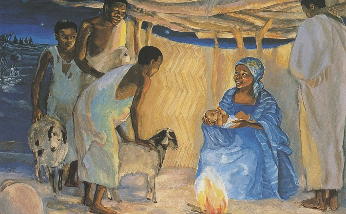 The birth of Jesus with shepherds