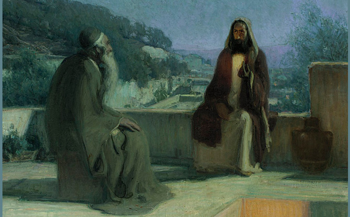 Nicodemus and Jesus on a Rooftop