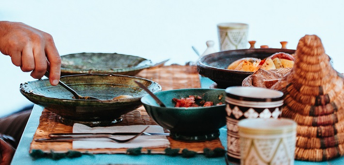 Mediterranean dishes served on table
