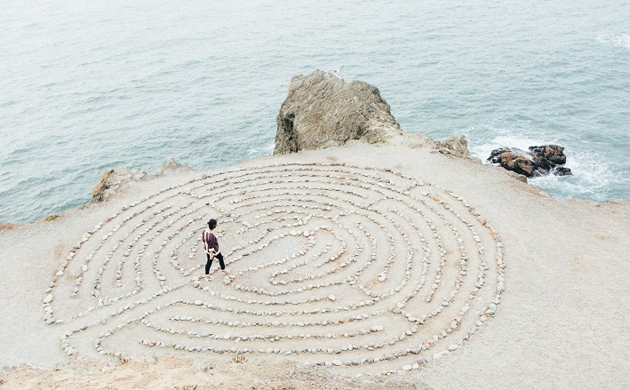 walking labyrinth by ocean