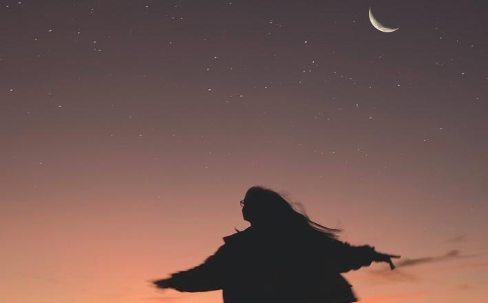 woman running in twilight